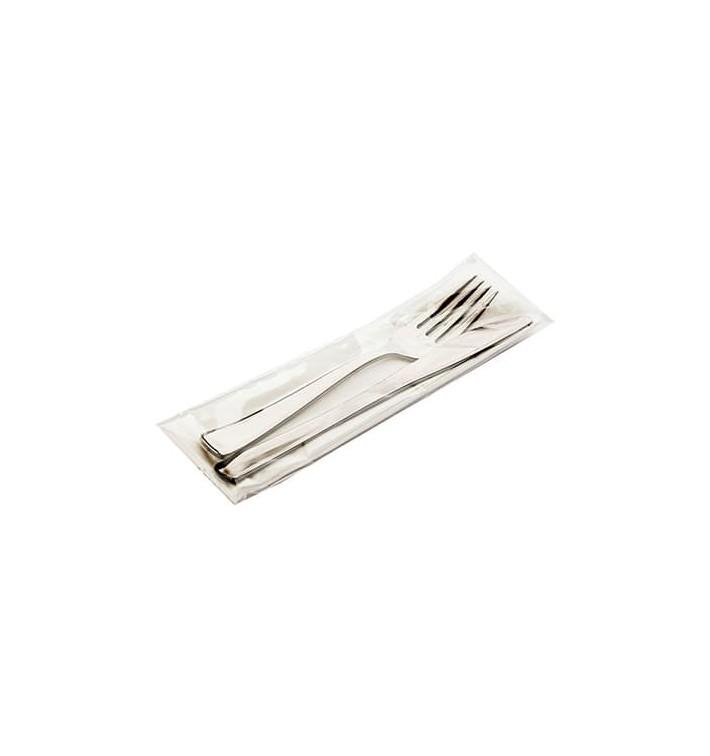 Set Cubiertos Metalizados Tenedor, Cuchillo y Servilleta (300 Uds)