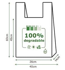 Bolsa Plastico Camiseta 100% Degradable 40x60cm (1600 Unidades)
