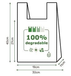 Bolsa Plastico Camiseta 100% Degradable 30x40cm (3000 Uds)