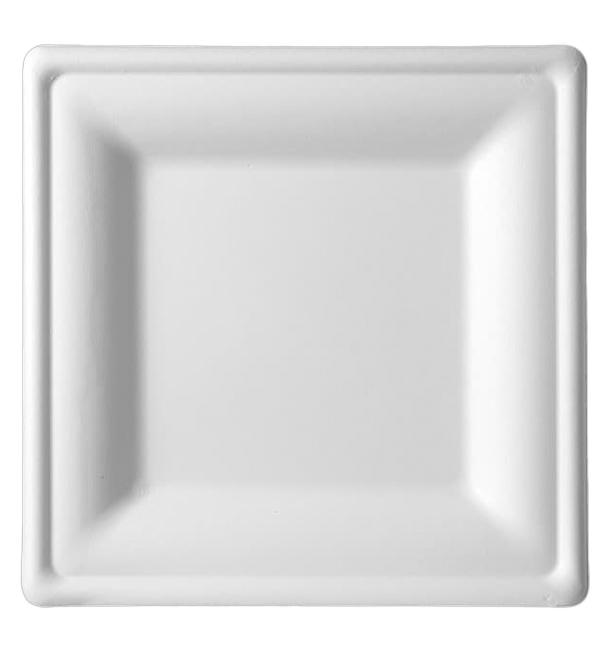 Plato Cuadrado Caña de Azucar Blanco 260x260mm (320 Uds)