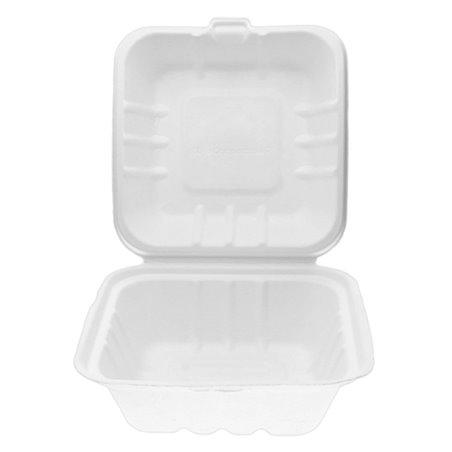 Envase Hamburguesa Caña de Azúcar Blanco 155x155x80mm (125 Uds)
