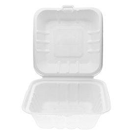 Envase Hamburguesa Caña Azúcar Blanco 150x150x75mm (500 Uds)