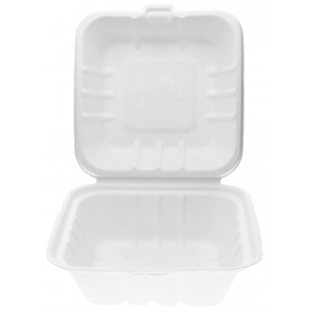 Envase Hamburguesa Caña Azúcar Blanco 150x150x80mm (500 Uds)