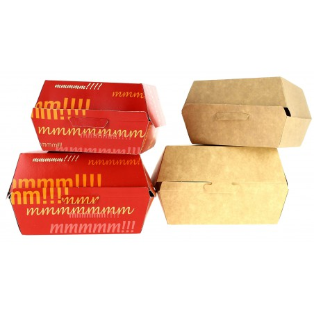 Caja Kraft para Hamburguesa XXL 14,5x14,5x8 cm (25 Uds)