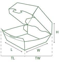 Caja Hamburguesa XXL 14,5x14,5x8 cm (25 Uds)