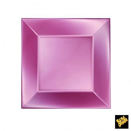 Plato de Plastico Llano Rosa Pearl Nice PP 230mm (25 Uds)