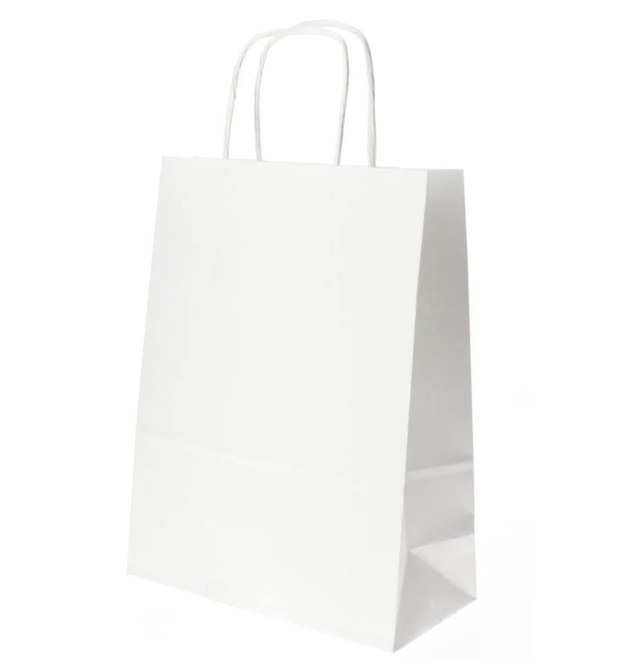 dc5609235 Bolsa Papel Kraft Blanca con Asas 100g 18+8x24 cm (50 Uds) - MonoUso