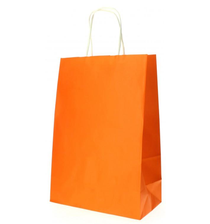 Bolsa Papel Naranja con Asas 80g 20+10x29 cm (250 Uds)