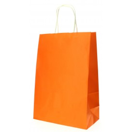 Bolsa Papel Naranja con Asas 80g 20+10x29 cm (50 Uds)