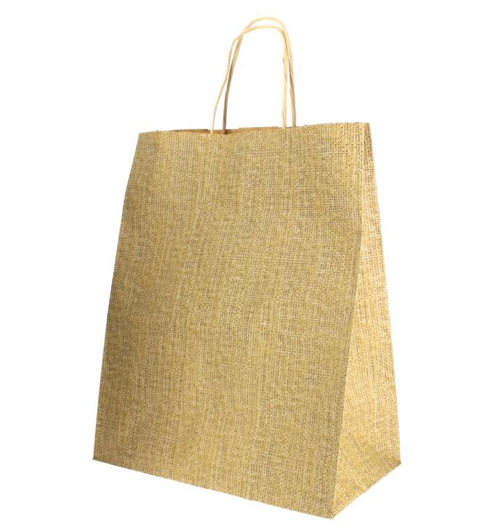 Bolsa Papel Kraft con Asas 80g 26+14x32 cm (50 Uds)