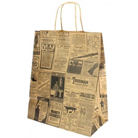 "Bolsa Papel Kraft con Asas ""Times"" 80g 26+14x32 cm (250 Uds)"