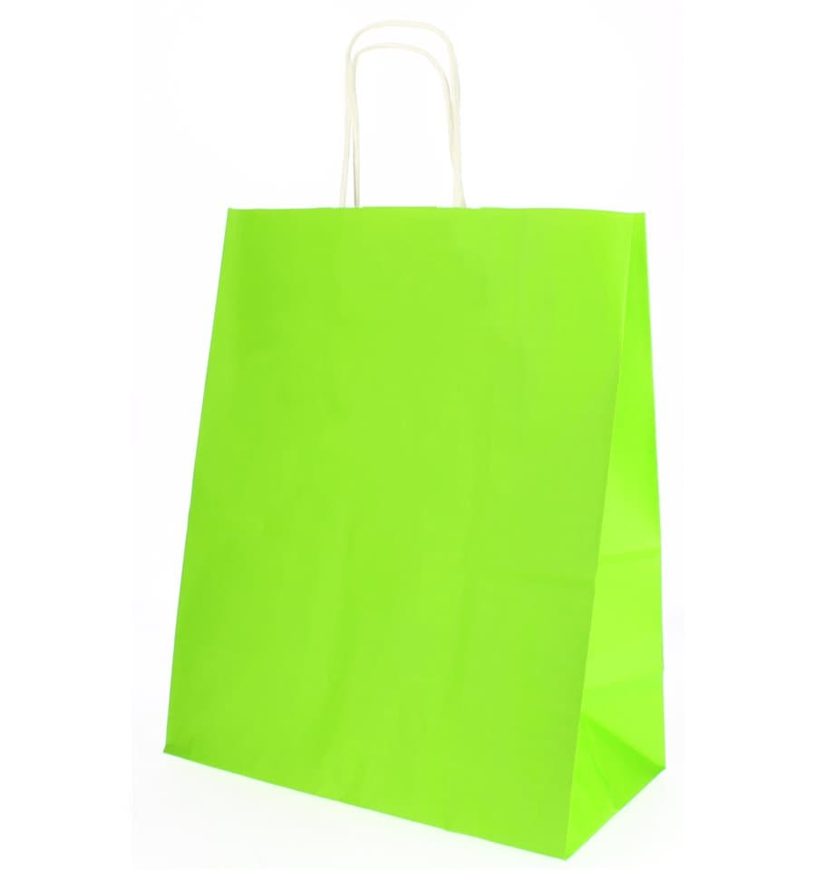 991fc234b Bolsa Papel Verde Anís con Asas 80g 26+14x32 cm (50 Uds) - MonoUso