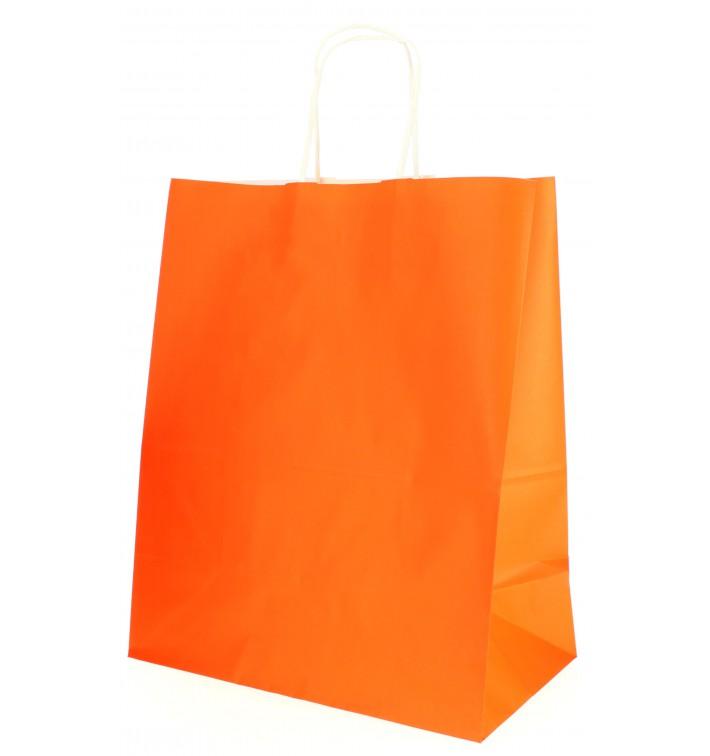 Bolsa Papel Naranja con Asas 80g 26+14x32 cm (50 Uds)