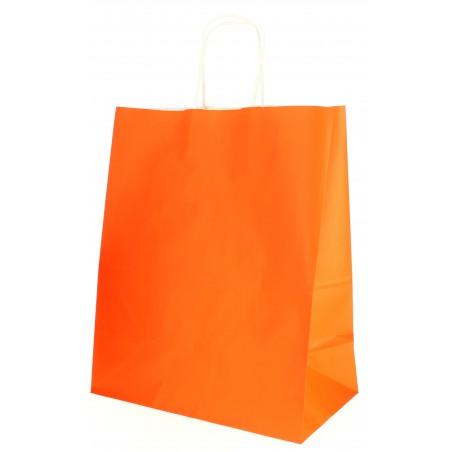 Bolsa Papel Naranja con Asas 80g 26+14x32 cm (250 Uds)