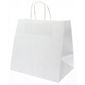 Bolsa Papel Kraft Blanca con Asas 80g 26+17x24 cm (250 Uds)