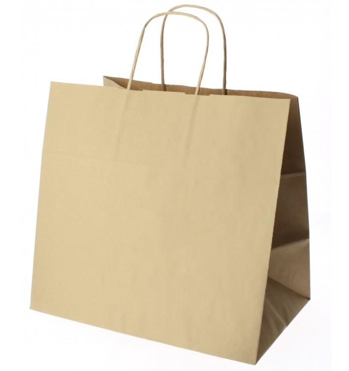 Bolsa Papel Kraft Marron con Asas 100g 27+14x26 cm (25 Uds)