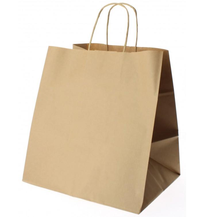 Bolsa Papel Kraft Marron con Asas 80g 30+18x29 cm (25 Uds)