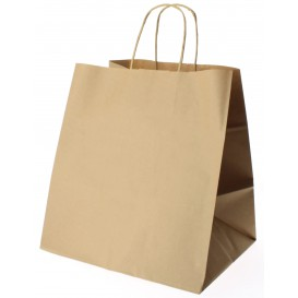 Bolsa Papel Kraft Marron con Asas 80g 26+20x27 cm (250 Uds)