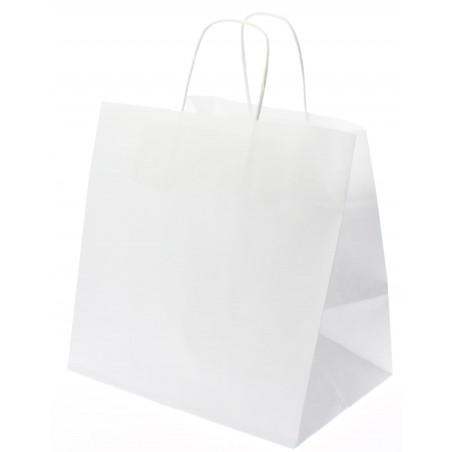 Bolsa Papel Kraft Blanca con Asas 80g 26+20x27 cm (50 Uds)