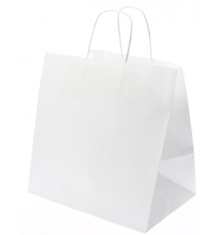 Bolsa Papel Kraft Blanca con Asas 80g 26+20x27 cm (250 Uds)