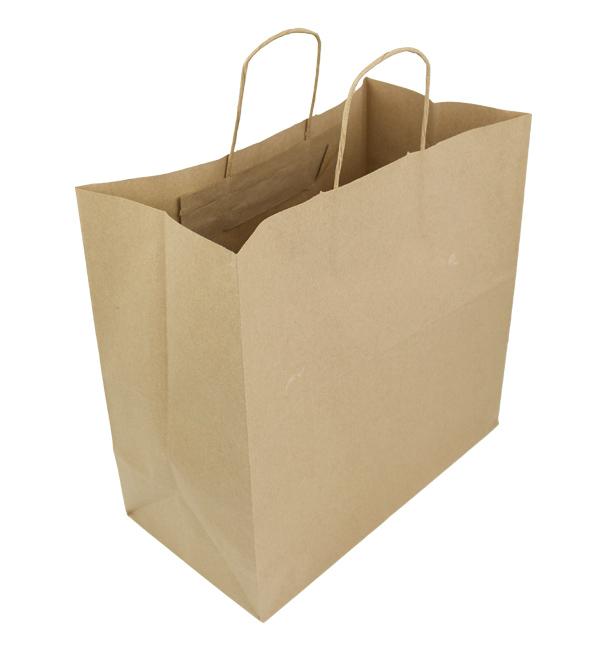 Bolsa Papel Kraft Marron con Asas 100g 35+15x30cm (25 Uds)