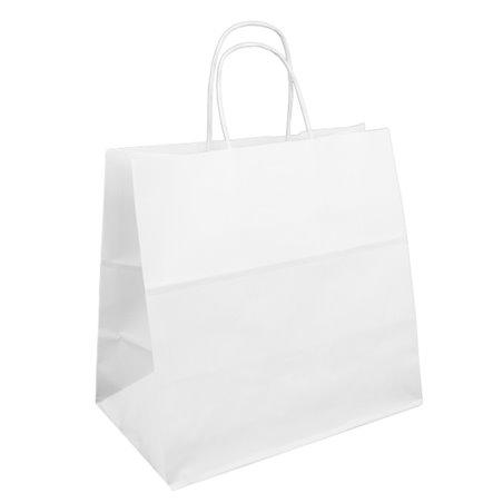 Bolsa Papel Kraft Blanca con Asas 90g 32+21x28,5 cm (50 Uds)