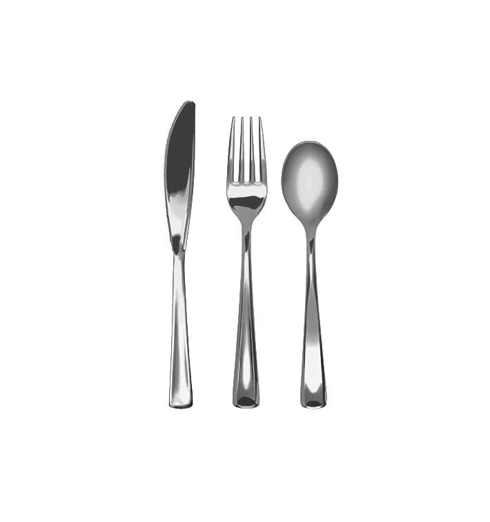 Kit de Tenedor, Cuchillo y Cuchara Metalizados (10 kits)