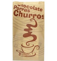 """Bolsa para Churros """"Chocolat"""" Kraft 22+11x36cm (250 Uds)"""