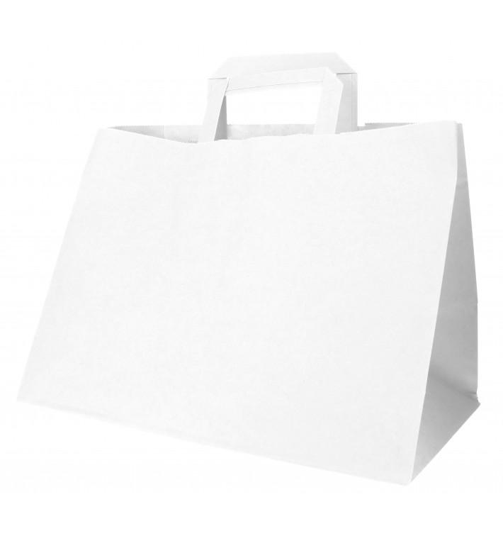 Bolsa Papel Blanca con Asas Planas 70g 32+20x23cm (50 Uds)