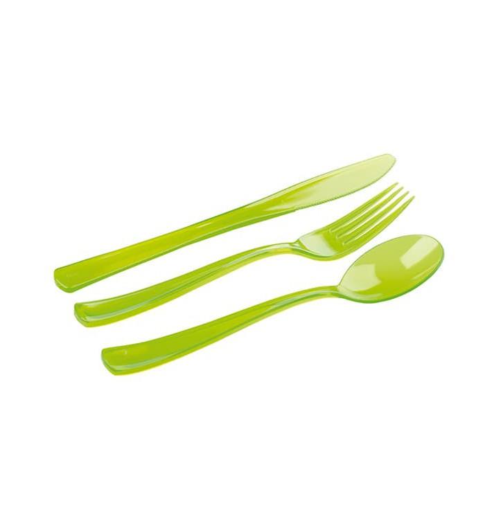 Kit Cubiertos Plastico Tenedor, Cuchillo, Cuchara Verde (20 Kits)