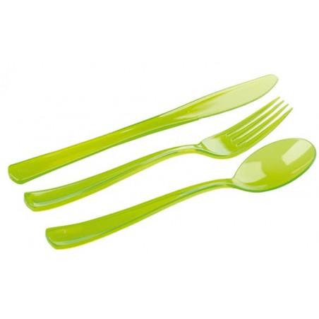 Kit Cubiertos Plastico Tenedor, Cuchillo, Cuchara Verde (1 Kit)
