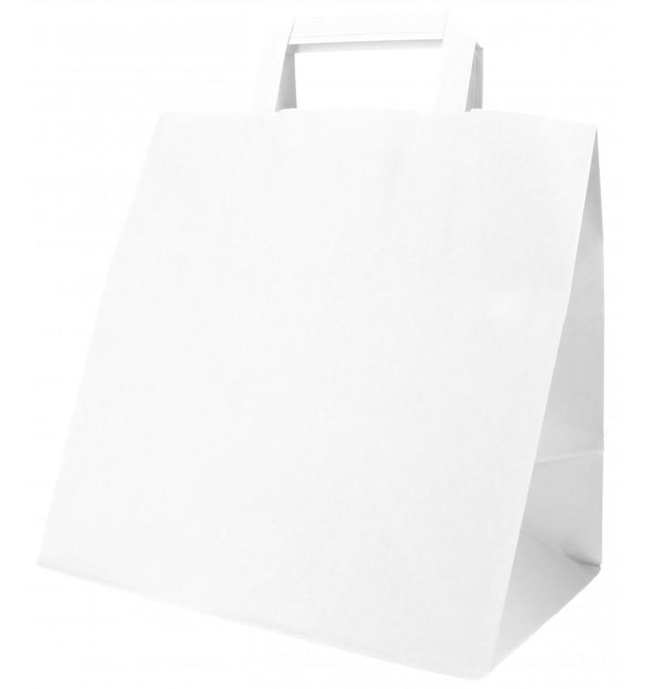 Bolsa Papel Blanca con Asas Planas 70g 26+18x26cm (50 Uds)