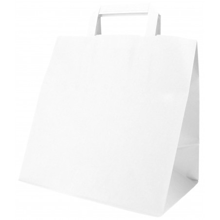 Bolsa Papel Blanca con Asas Planas 70g 26x18x26cm (50 Uds)