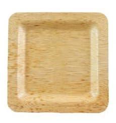 Plato Cuadrado de Bambú 15x15x1cm (100 Uds)