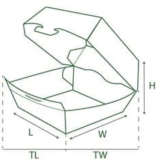 Caja Hamburguesa Cartoncillo 12x12x7 cm (450 Uds)