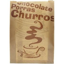 """Bolsa para Churros """"Chocolat"""" Kraft 30+9x42cm (250 Uds)"""