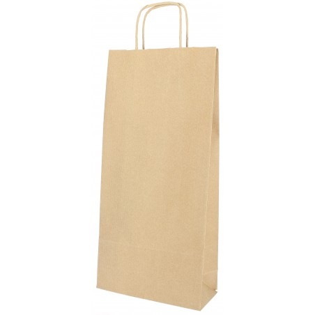Bolsa Papel Kraft para Botellas Asas 18+8x39cm (300 Uds)