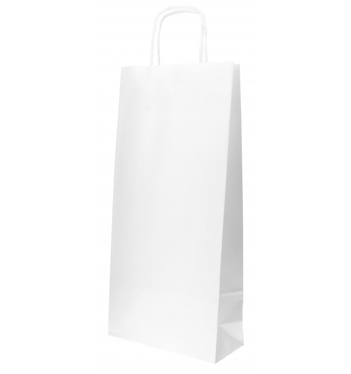 Bolsa Papel Blanca para Botellas Asas 18+8x39cm (50 Uds)