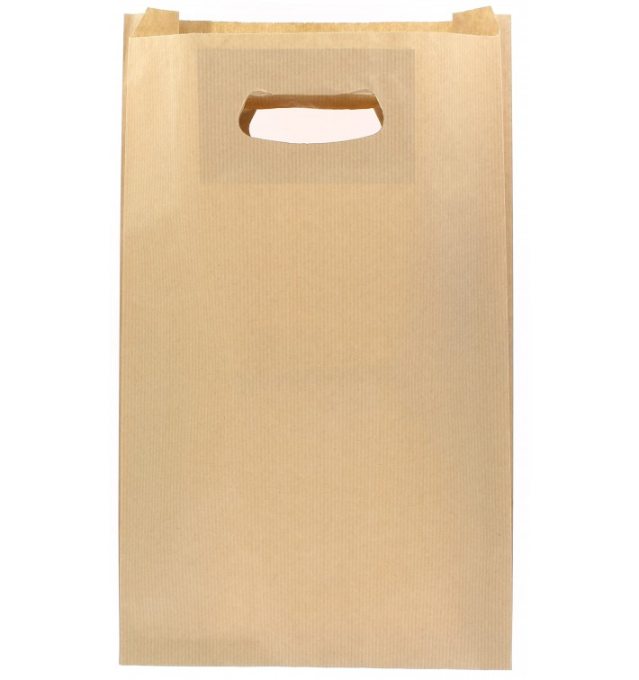 Bolsa Papel Kraft Asas Troqueladas 70g 24+7x37cm (50 Uds)