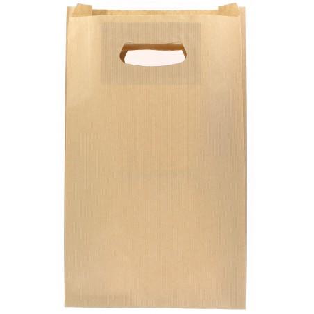 Bolsa Papel Kraft Asas Troqueladas 70g 24+7x37cm (250 Uds)