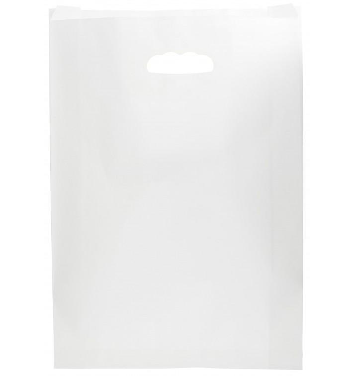 Bolsa Papel Blanco Asas Troqueladas 31+8x42cm (50 Uds)