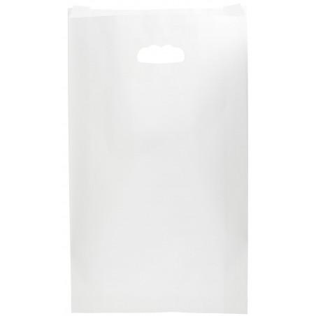 Bolsa Papel Blanco Asas Troqueladas 70g 24+7x37cm (50 Uds)