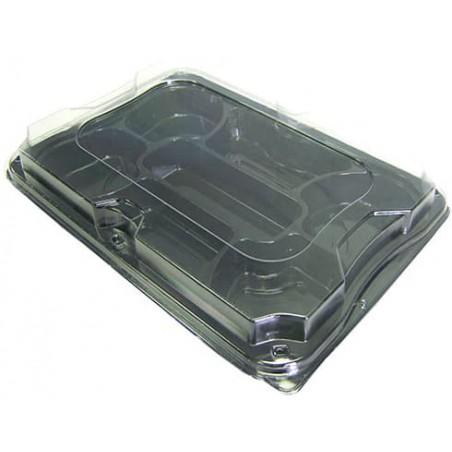 Bandeja Reutilizable PET Negro 7C con Tapa 35x24cm (5 Uds)