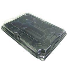 Bandeja Plastico Negro 7C con Tapa PET 35x24cm (15 Uds)