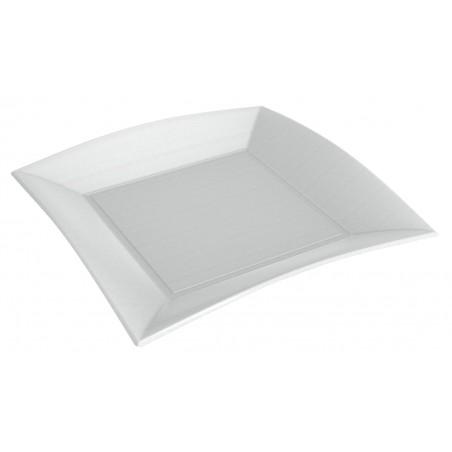 Plato Cuadrado Caña de Azucar Nice Blanco 230x230mm (500 Uds)