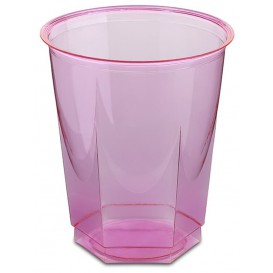 Vaso Plastico Hexagonal PS Cristal Fucsia 250ml (10 Uds)