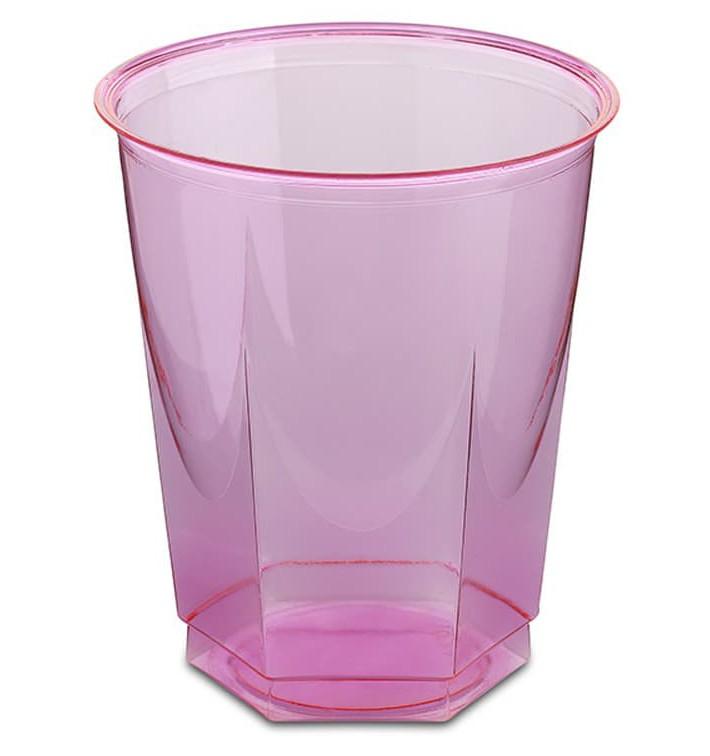 Vaso Plastico Hexagonal PS Cristal Fucsia 250ml (10 Uds)