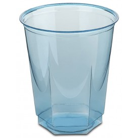 Vaso Plastico Hexagonal PS Cristal Turquesa 250ml (10 Uds)