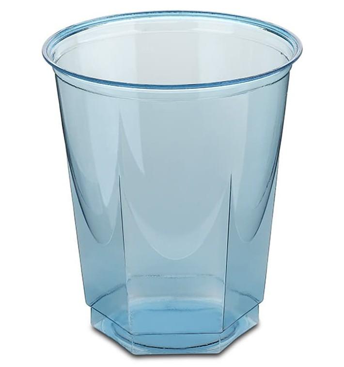 Vaso Plastico Hexagonal PS Cristal Turquesa 250ml (10 Uds)