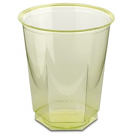 Vaso Plastico Hexagonal PS Cristal Pistacho 250ml (10 Uds)